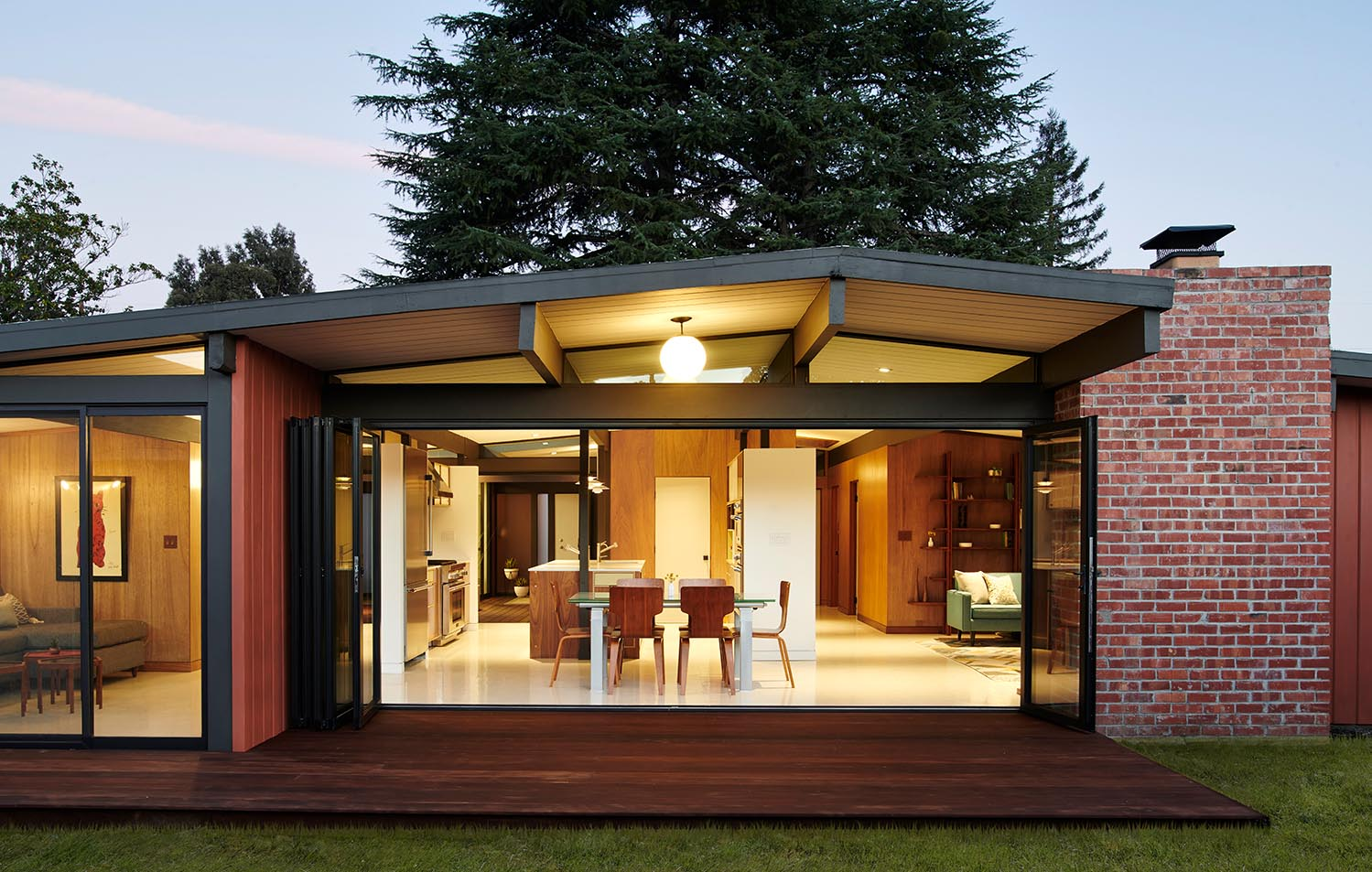 house remodel with folding glass wall system