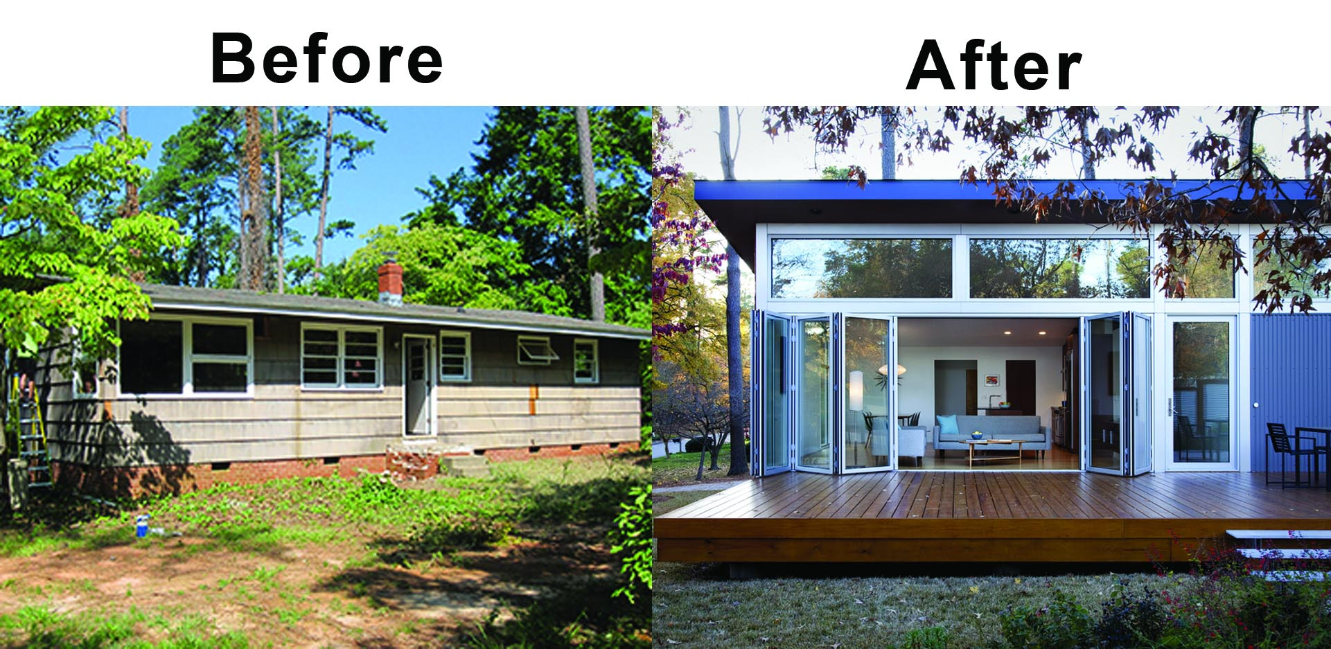 remodel before and after with floor supported folding glass wall