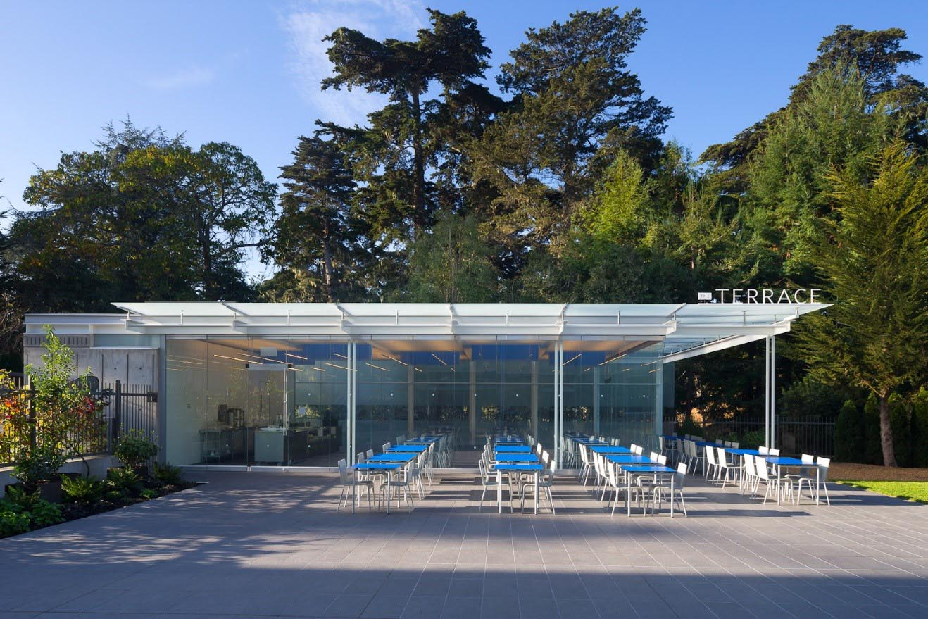 San Francisco Cal Science Academy outdoor cafe with frameless glass walls