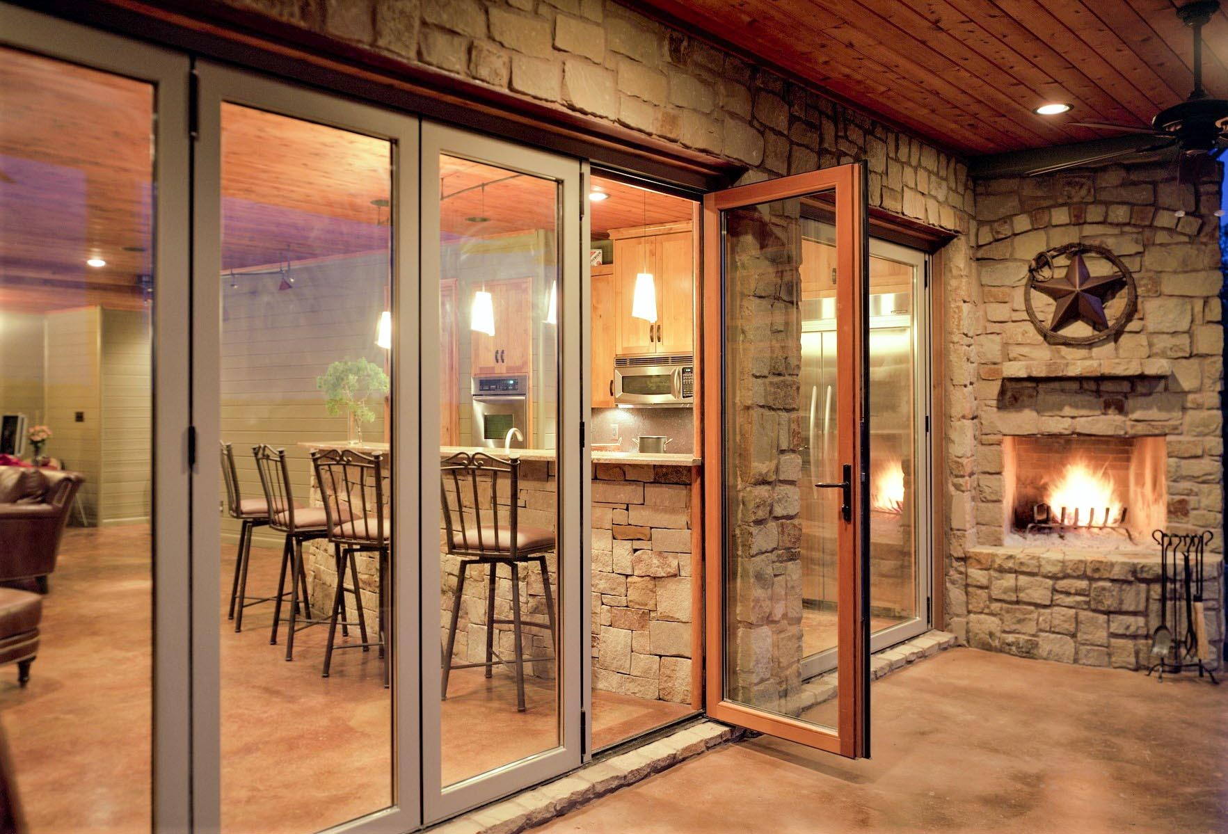 aluminum clad over solid wood framed folding patio door