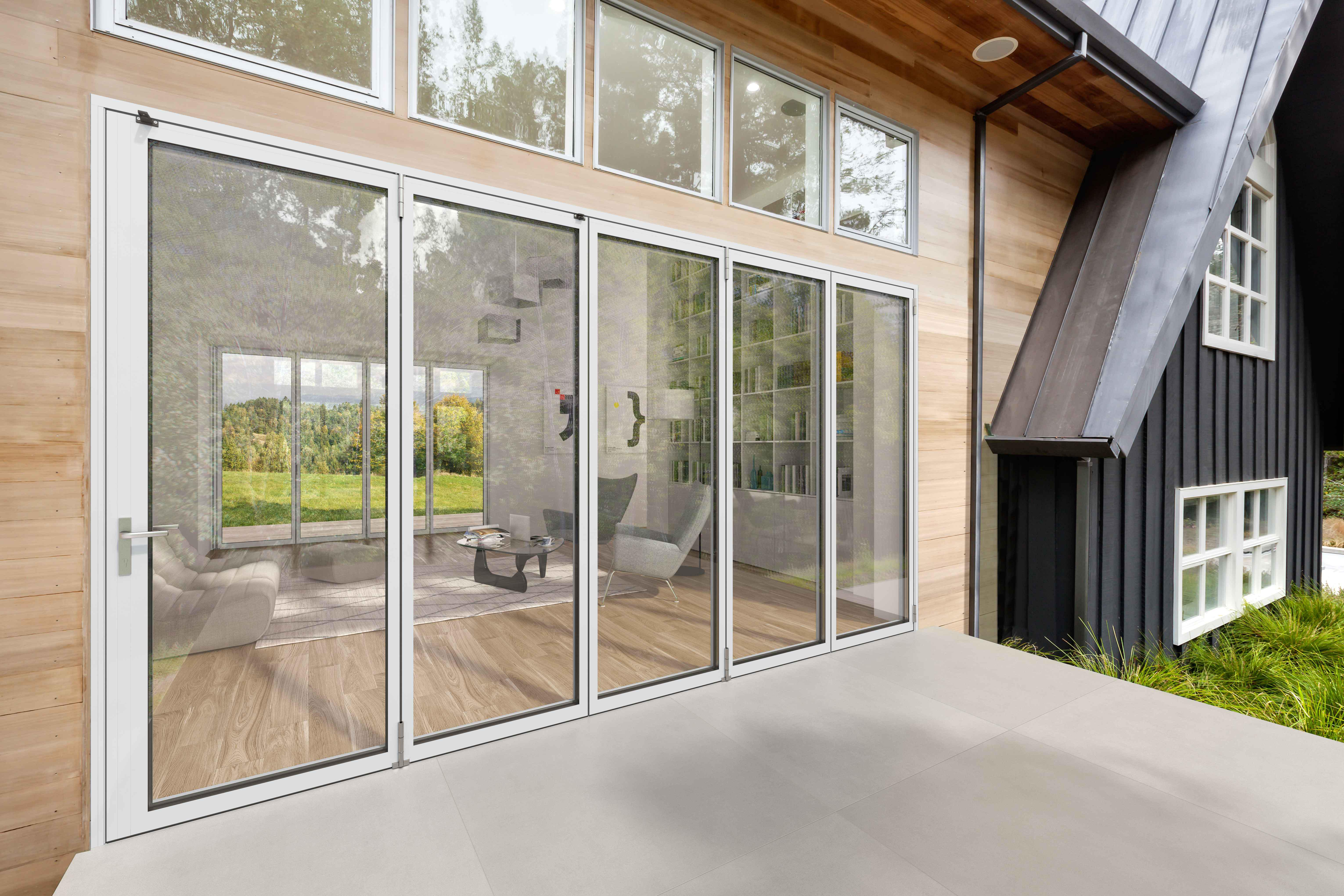 next generation folding glass wall with slimmest aluminum frame available