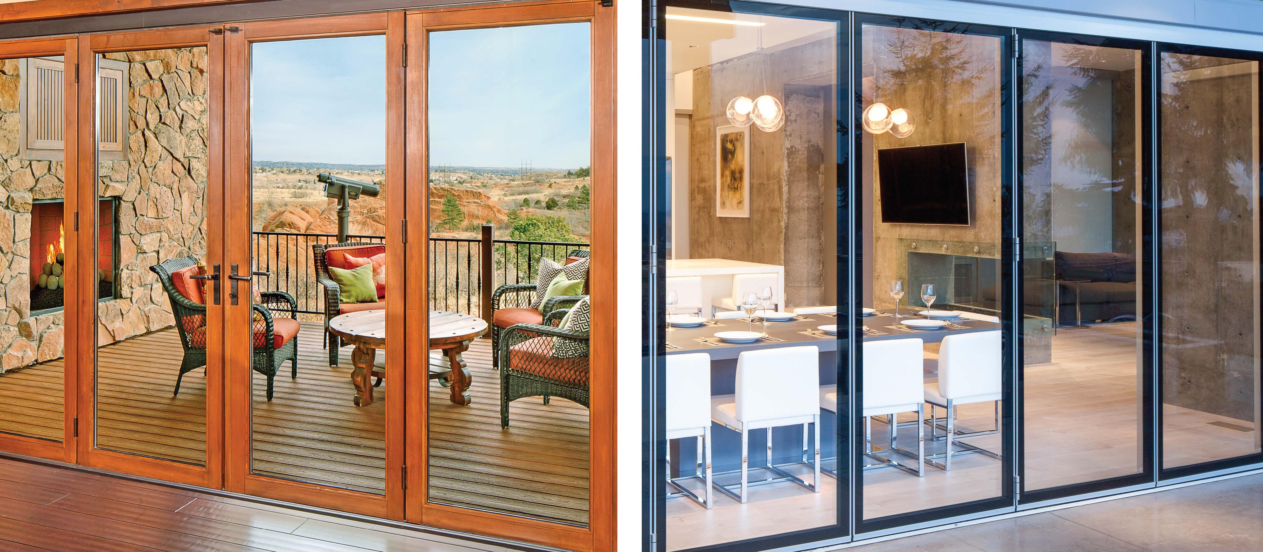 wood framed vs. aluminum framed opening glass walls