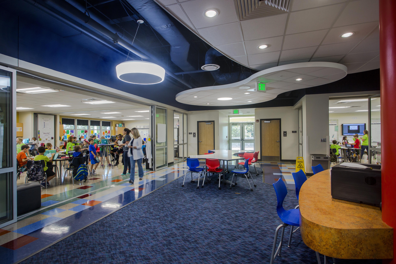 NanaWall SL45 FoldFlat in an interior school setting