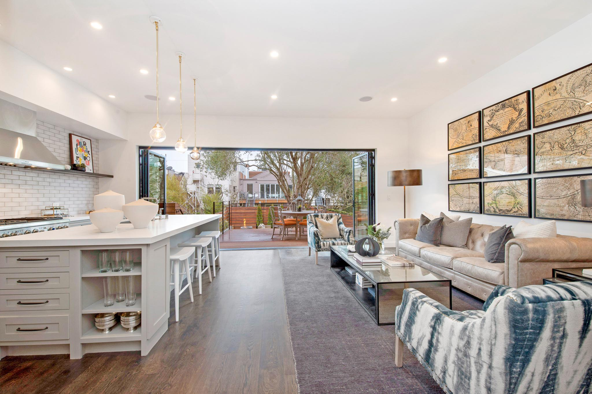 clean-lined aesthetic in traditional san francisco victorian home with bifold door