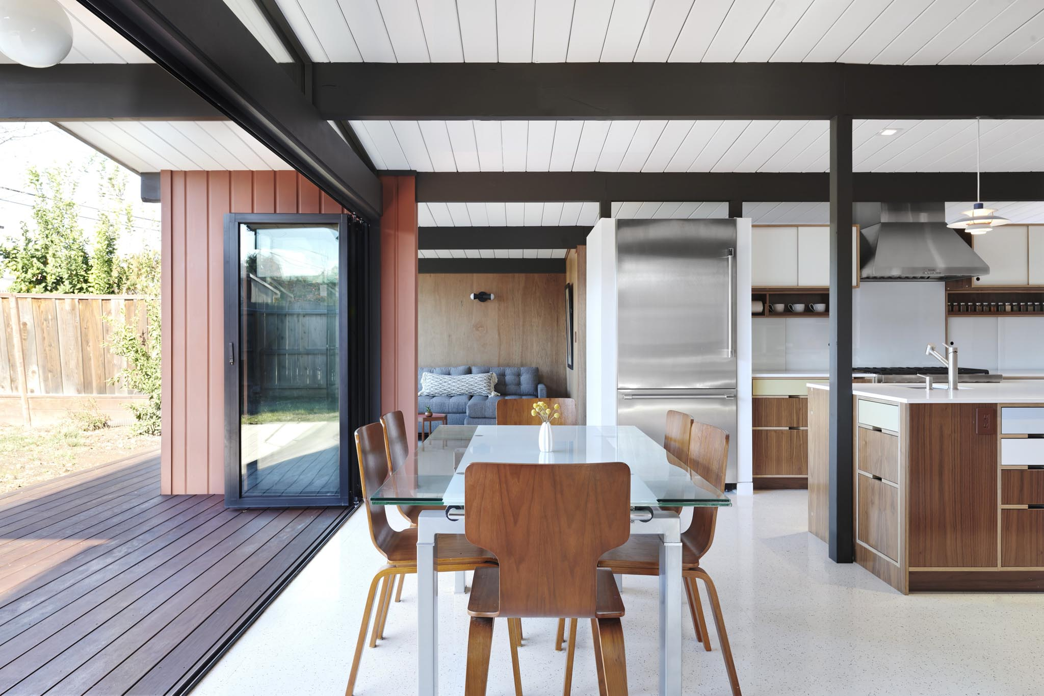 mid-century modern eichler home remodel with folding glass wall