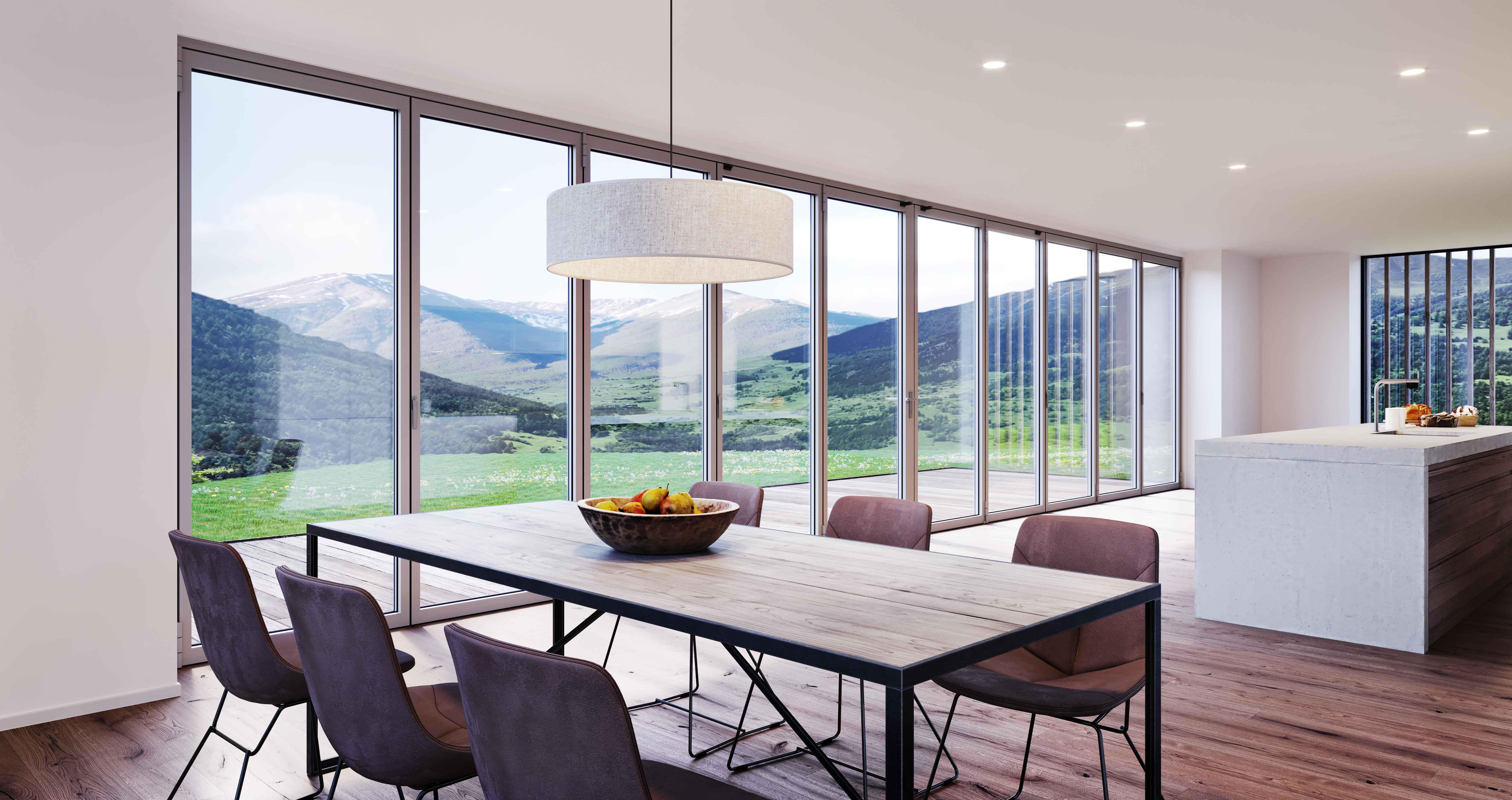 large folding glass wall bringing the indoor/outdoor lifestyle
