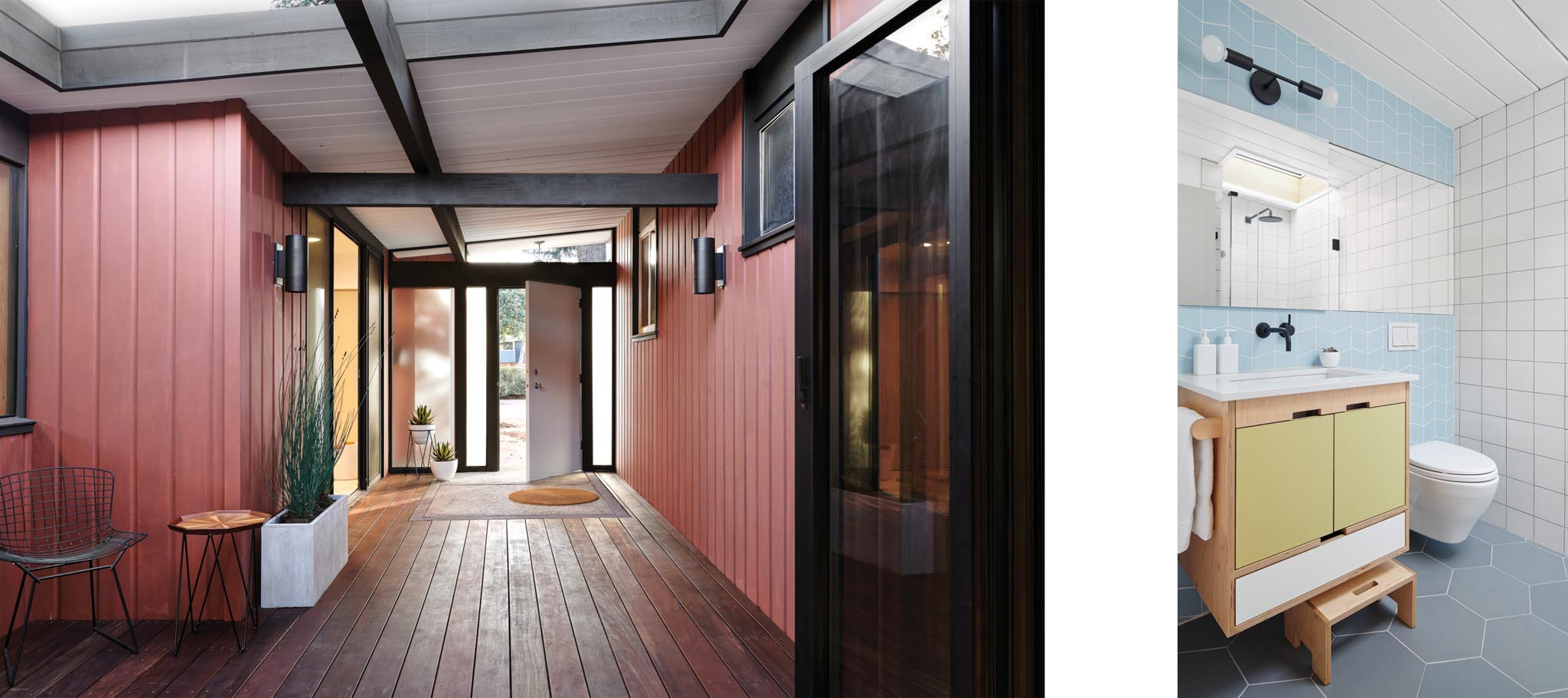Eichler homes remodel details painted in international orange