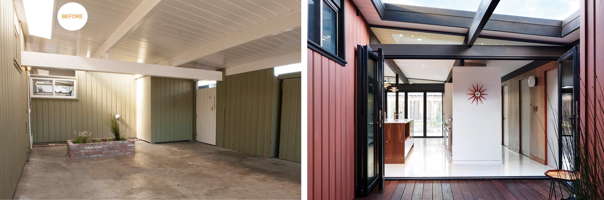 Eichler homes carport before and after remodel with folding glass wall SL60