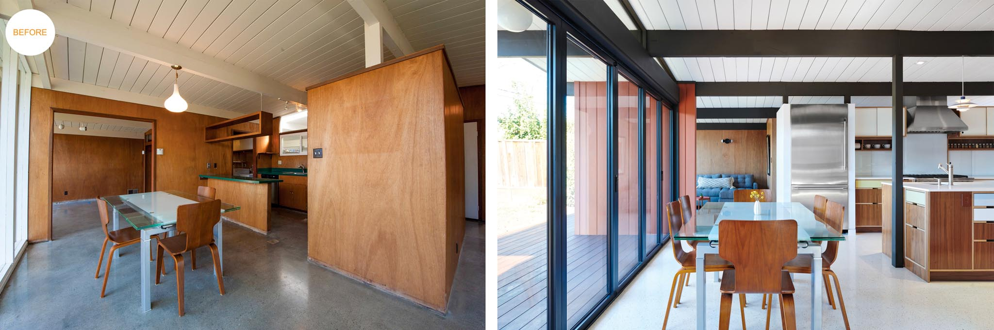 opening the dining room of eichler home to the backyard with NanaWall folding door