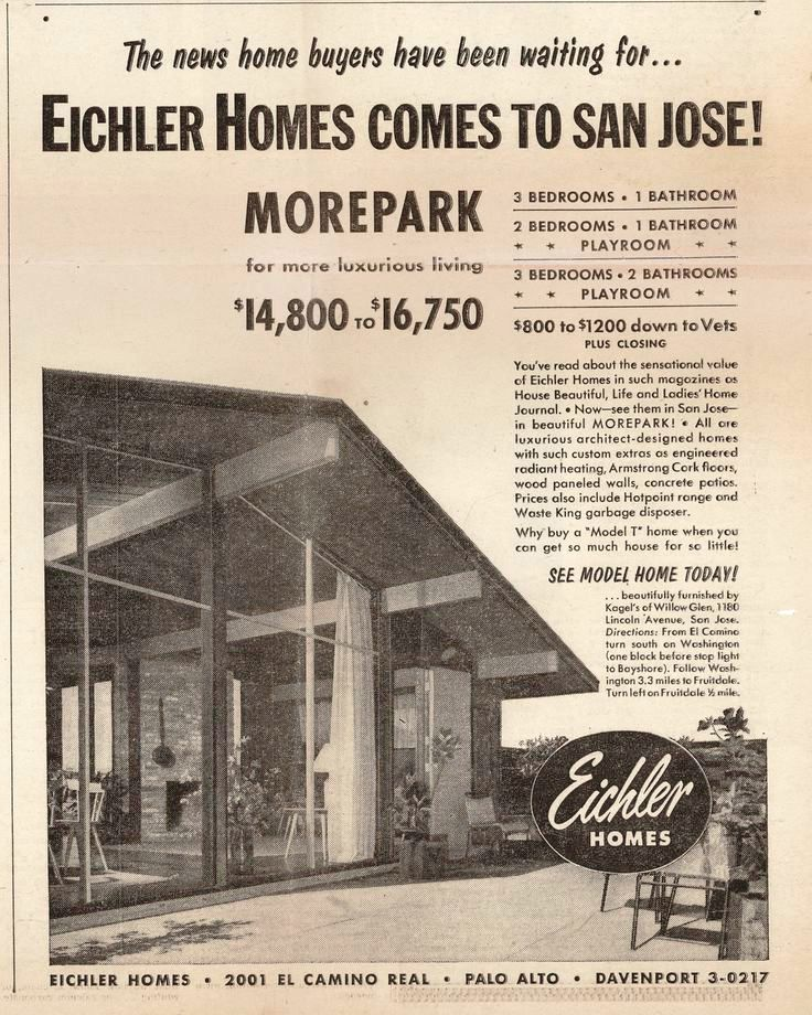 Eichler homes comes to San Jose Morepark original advertisement