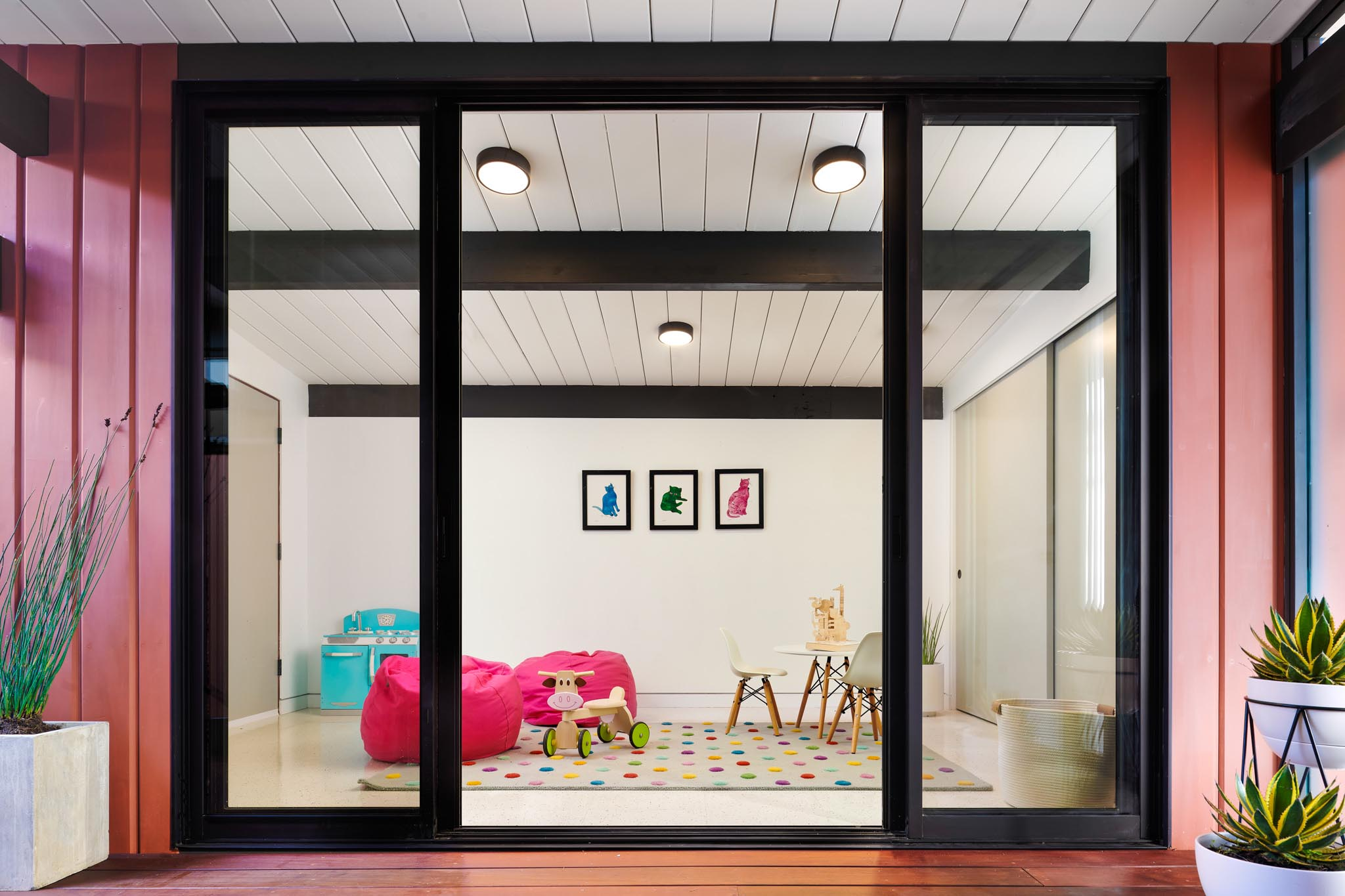 playroom addition in courtyard