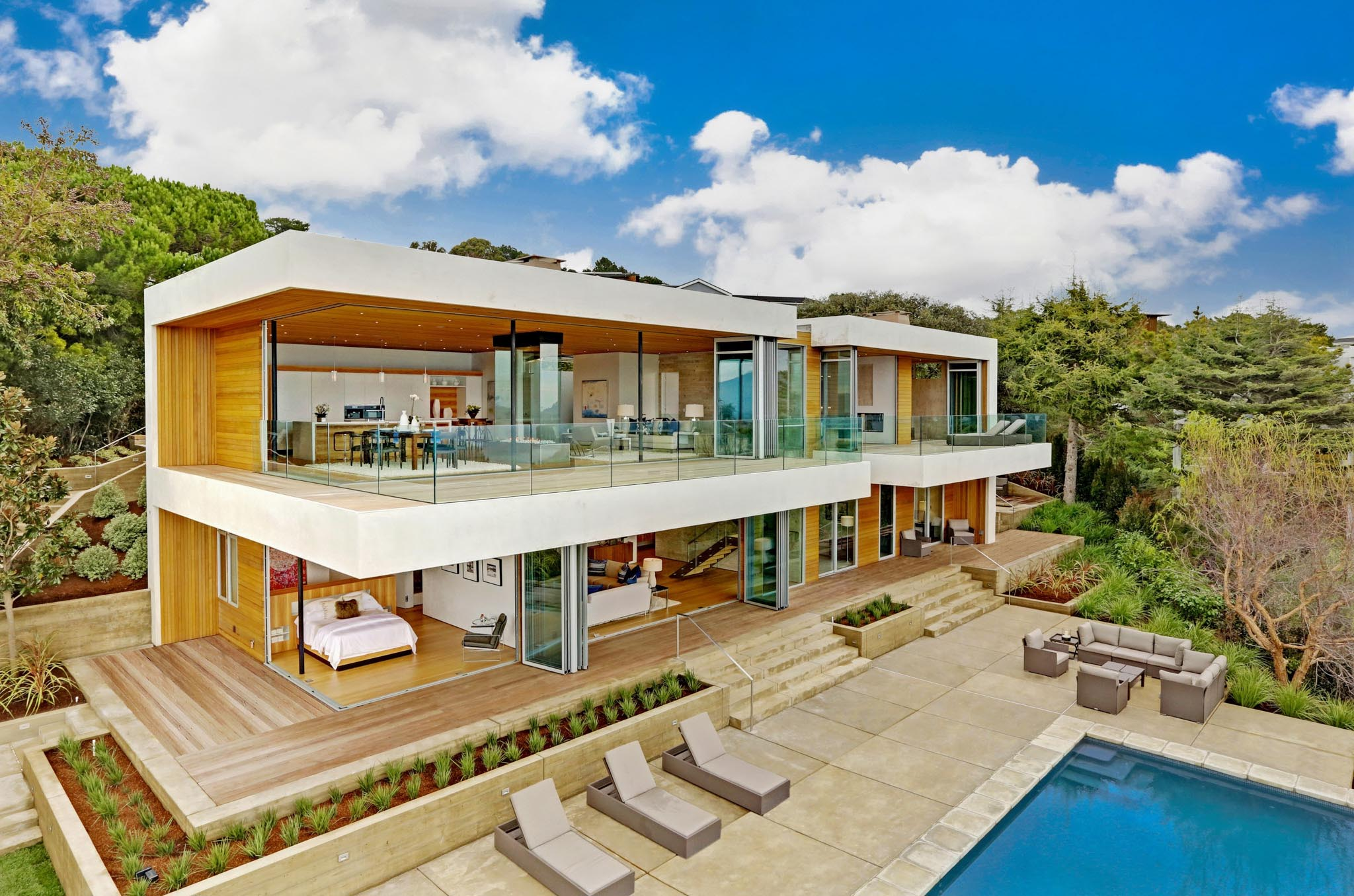 opening glass walls design inspiration in every room of Tiburon home