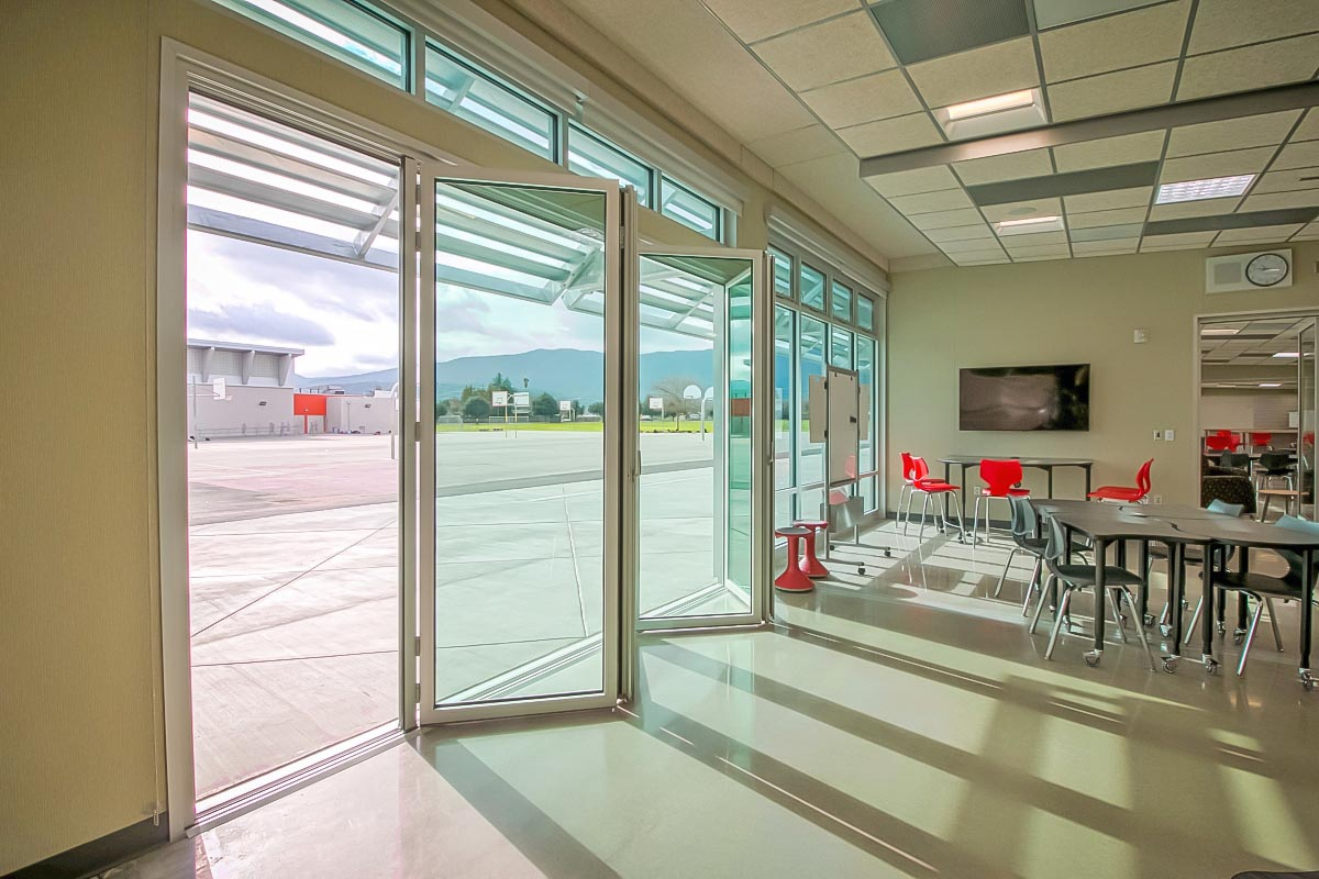 STEM classroom design with opening glass walls
