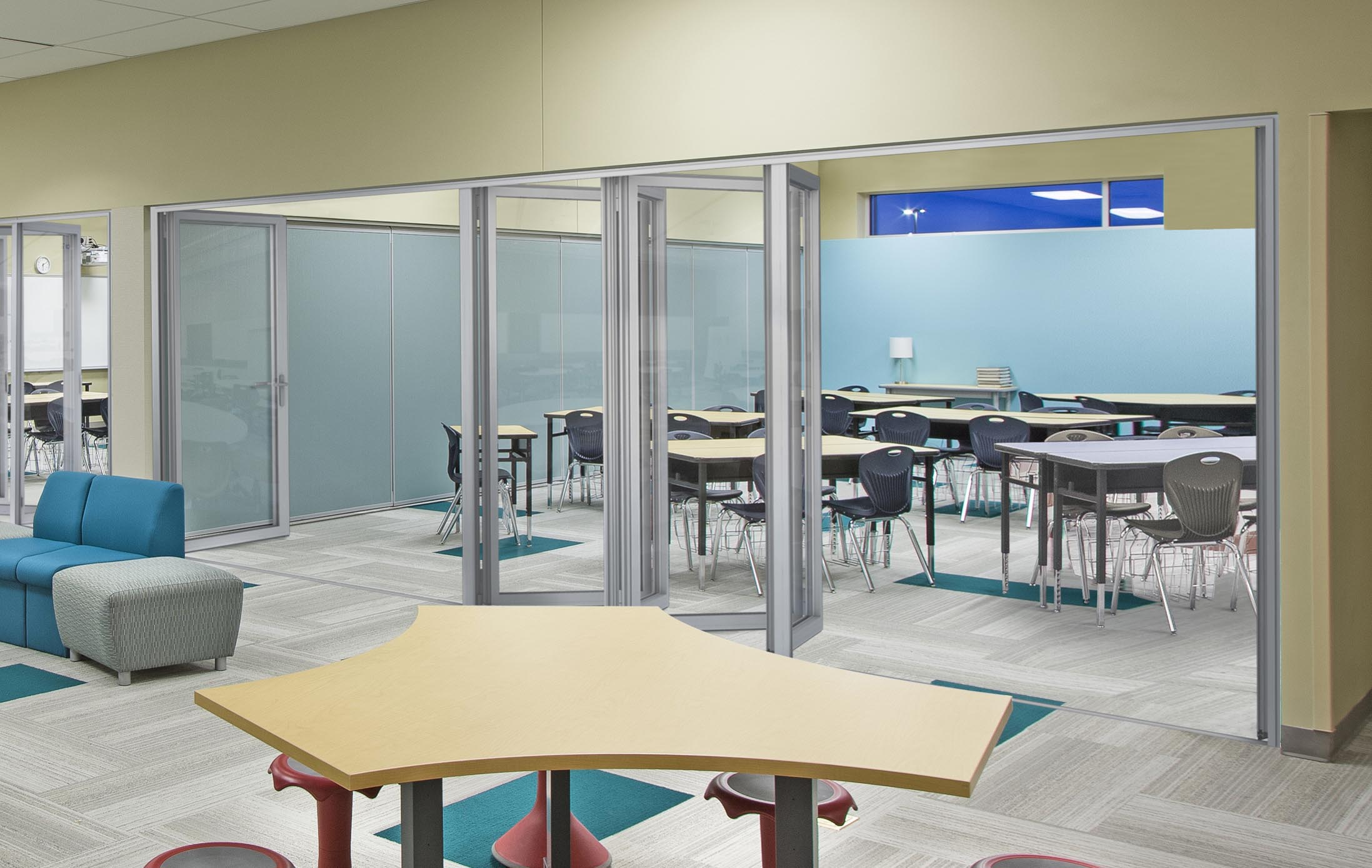 first sound-rated folding glass wall with STC 45