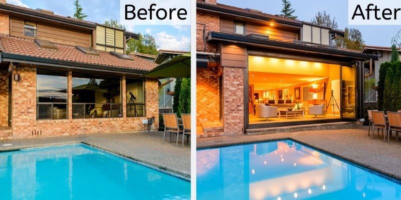 before and after remodel with opeing glass walls