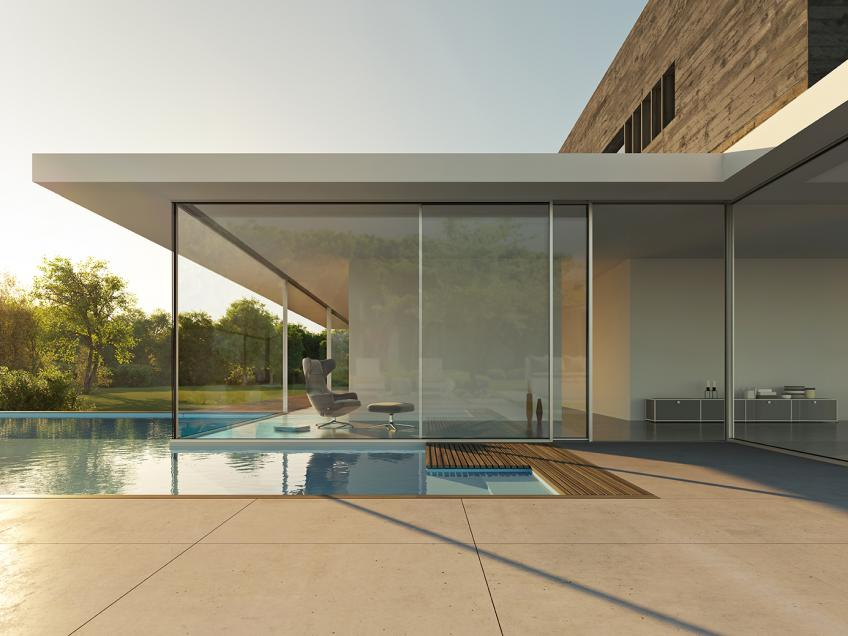 Nanawall unveils ultra high end minimal sliding glass door line nanawall for Sliding glass wall doors