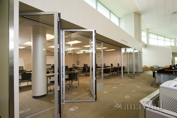 Interior Application Of NanaWall At Library With Glass Wall