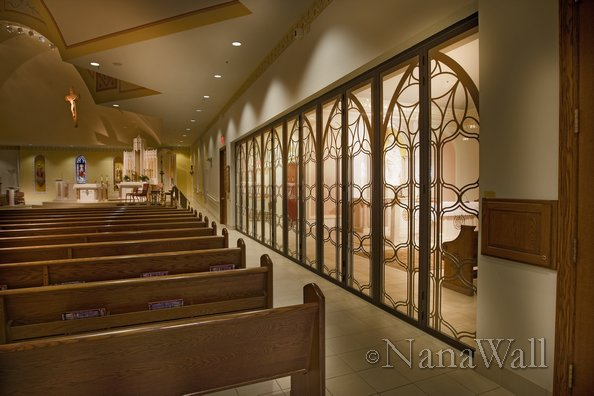 Interior Separation with NanaWall operable wall at church