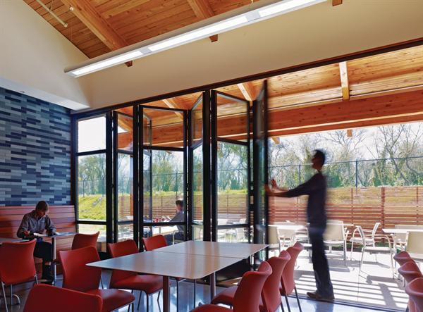 Watsonville Center accordion glass walls