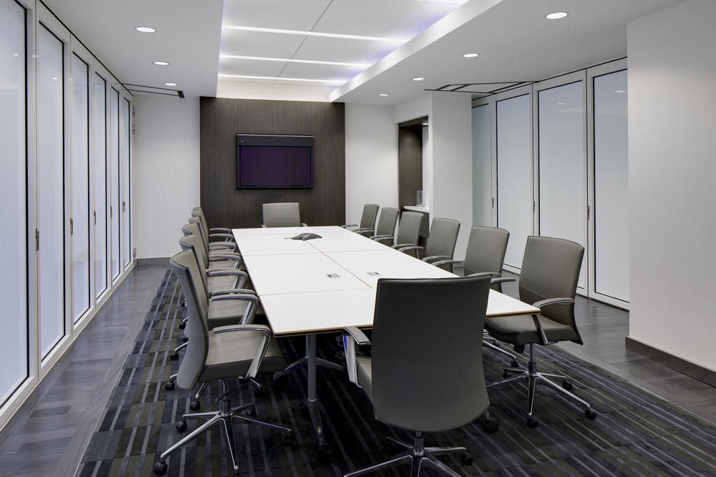 Amadeus office meeting room with sliding glass walls