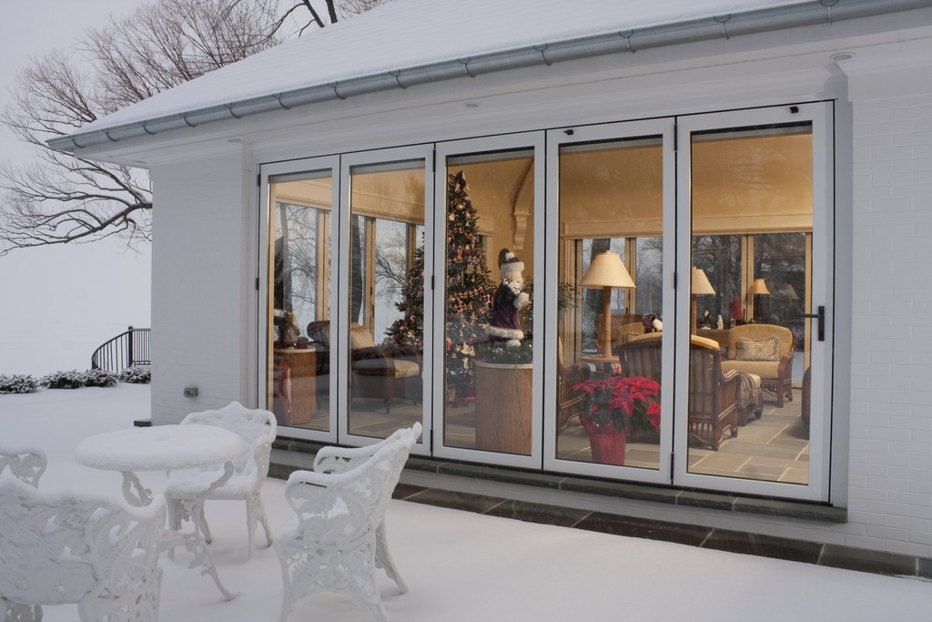 air-tight room with operable walls on lake erie in the winter