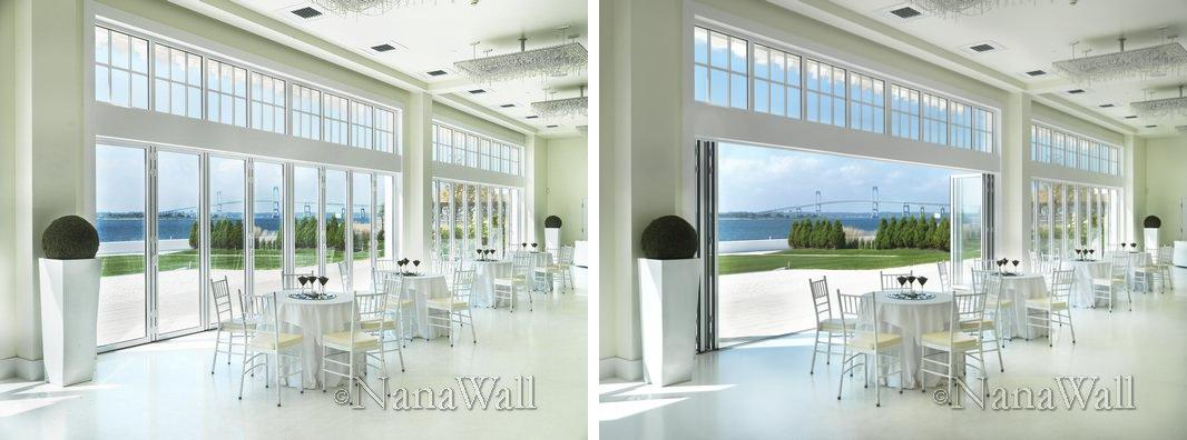 NanaWall folding doors symmetric stack when closed