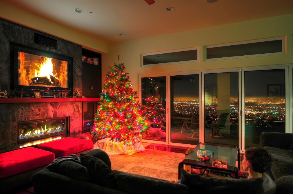 Secure glass folding doors by NanaWall, christmas lights