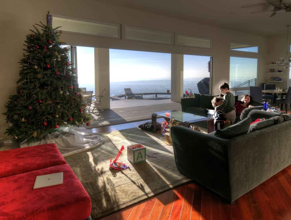 NanaWall on Christmas morning brings outdoors, view inside