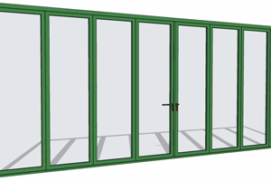 Green folding door in SketchUp