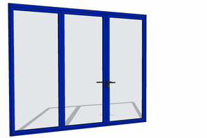 Blue folding door with SketchUp