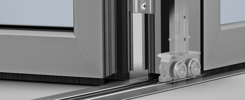 SL70-Folding Glass Walls- stainless steel rollers and floor track